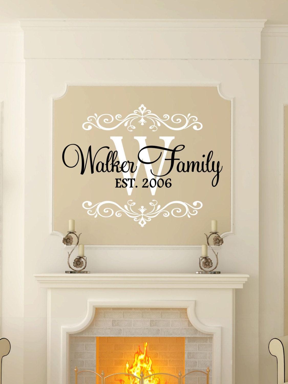 ?zoom & Custom Last Name u0026 Monogram Vinyl Decal Set Family Vinyl