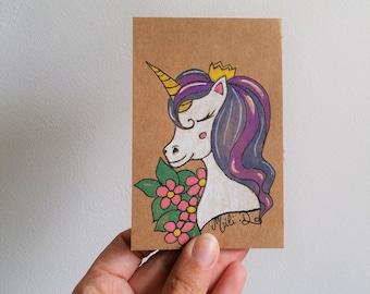 Mini bloc-note, bloc-note licorne, liste de courses, bloc papier, cadeau original, cadeau professeur, petite licorne, amateurs de licorne,