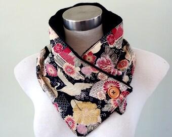 Japanese cotton Neck warmer - Crane Black