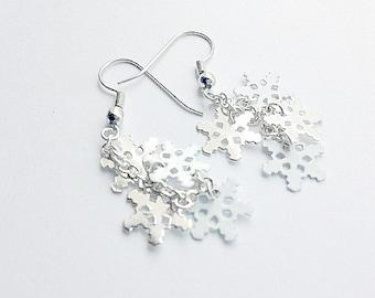 Snowflake Dangle Earrings Silver and White Snowflakes