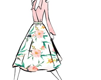Digital Download - Watercolour fashion illustration Titled Florals
