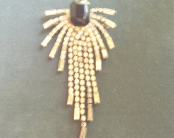 SALE! Art Deco Brooche Hematite Center Stone with Rhinestone Shower Spray 1920/30s Era Item # 926 Jewelry