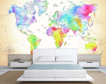 World map texture colorful world map wallpaper world map world map wall mural painting map wallpaper colorful world map watercolor world map world map decal modern world map wallpaper map gumiabroncs Image collections