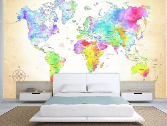 World map wall mural painting map wallpaper colorful world like this item gumiabroncs Images