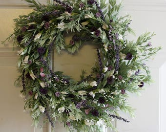 Wreath Honey Locust and Rosemary with Lavender and White Flowers