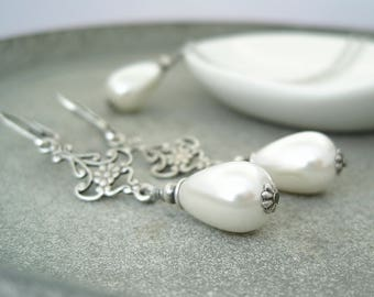 Bridal jewelry set vintage silver pearls bridal necklace bridal earrings antique silver