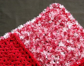 Red and White Texture afghan 27 x 27 inches