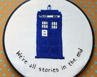"""Doctor Who - 7"""" Hand Embroidery Hoop - Tardis embroidery - pop culture embroidery - 11th Doctor"""