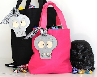 Halloween Personalized Skelleton Skull Candy Bag | Trick or Treat Bucket Name Charm Tag