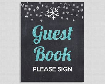 Winter Guest Book Shower Table Sign, Blue Glitter Snowflake Guest Book Sign, Chalkboard, INSTANT PRINTABLE