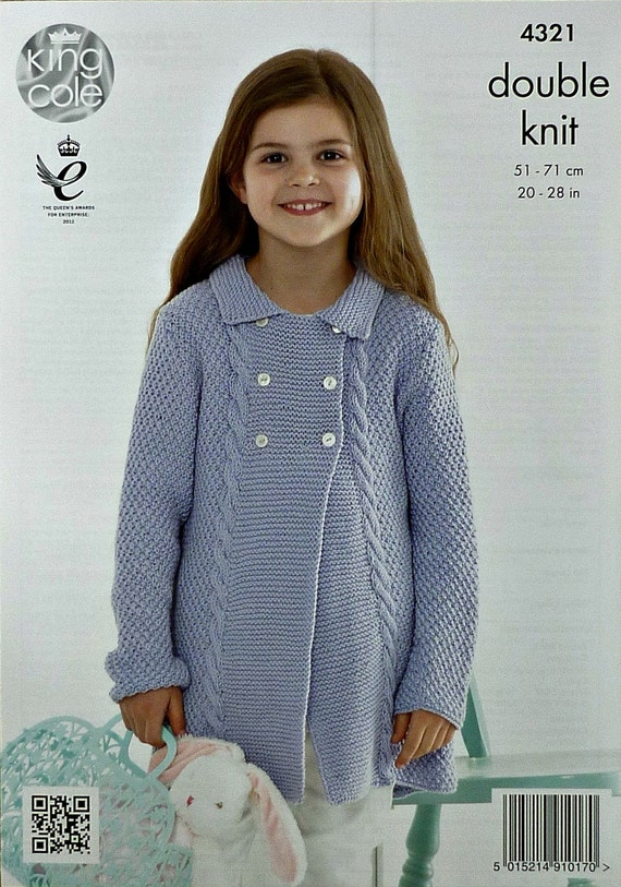Girls Knitting Pattern K4321 Girls Long Sleeve Double Breasted Coat ...