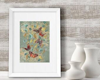 Butterfly wall art, Home decor, anniversary gift idea, framed butterfly print