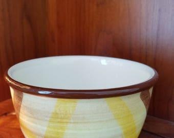 """Vernonware Organdie 5"""" Mixing Bowl Brown-Yellow Plaid"""