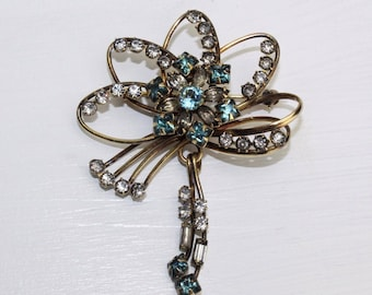 Vintage 1940's Blue Rhinestone 12K GF Brooch Pin by Carl-Art - Free Shipping