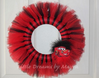 Lightning McQueen inspired tutu wreath, Cars party, Cars decorations, Lightning McQueen party decorations inspired