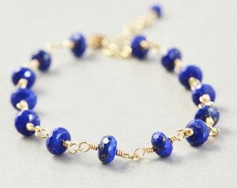 Lapis Gold Chain Bracelet, Cobalt Bracelet, Midnight Blue, Handmade