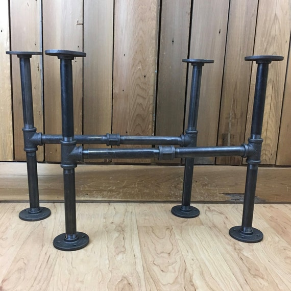 Diy Pipe Table: Industrial Black Iron Pipe Coffee Table Legs Set Of Two 2