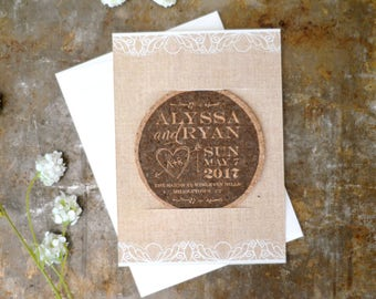 Rustic Linen and Lace Cork Coaster Save the Date // Unique Save the Date