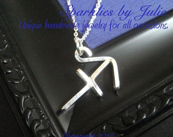 Sagittarius Necklace  - Zodiac necklace, hand formed, sterling silver Astrological Symbol pendant