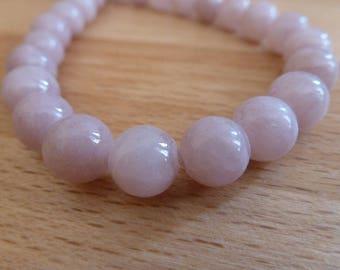 10 round jade beads 8mm grey rose