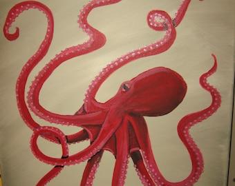 Octopus Art Octopus Painting Large Octopus Custom Octopus Beach Decor Beach House
