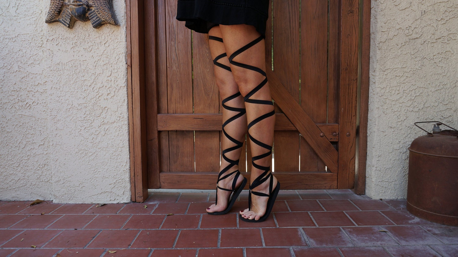 Thigh High Lace Up Gladiator Sandals in Black Women's
