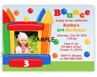 Bounce House Birthday Invitation Style 1 for Boy or Girl (Digital File)