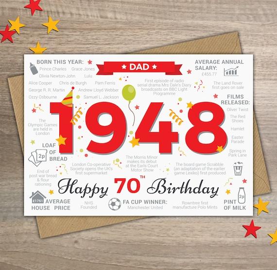 Happy 70th Birthday DAD Greetings Card Born In 1948 Year Of