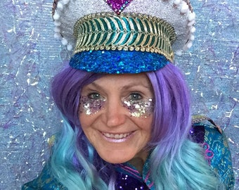 White glitter and blue sequinned bling military captains hat with pom pom trim and teal/gold braiding - Fairylove