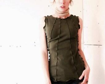 RIBBED TOP t-shirts, tank top, women shirt, women tank, olive tshirt, handmade shirt, treehouse28, stretchy shirt, green shirt, cotton shirt