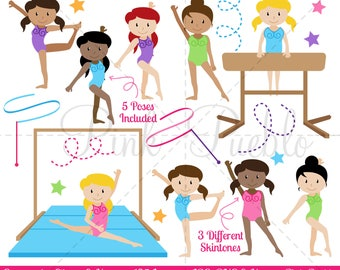Clipart de la gymnastique, la gymnastique Clip Art, Clipart gymnaste, vecteurs de gymnaste Clip Art, grand pour l'anniversaire de gymnastique - usage Commercial