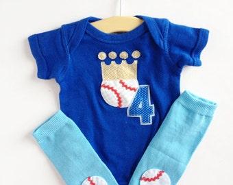 Royals Baseball Crown Baby bodysuit and baseball baby leg warmers, Kansas City Shirt