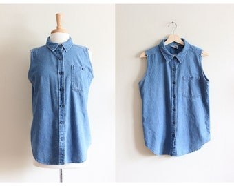 Vintage 1990s Sleeveless Denim Button Down Top