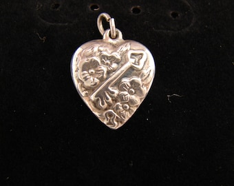 Vintage sterling silver Key to my heart floral puffy heart Love charm