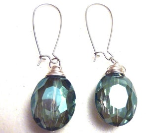 Green Blue Crystal Wire Wrapped Drop Earrings