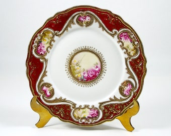 "Antique Noritake Cabinet Plate 7 1/2"" Hand Painted Roses Gold Bead Moriage 1906"