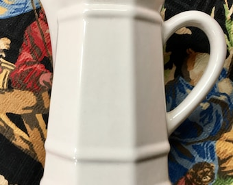 Vintage Ironstone Creamer Small Pitcher Pretty Lines white