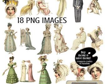 Regency Fashion Digital Clipart PNG Images - Regency Images - French Regency Women's Fashions - Instant Download - Digital Images