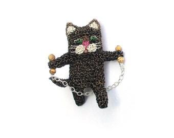 Cat jewelry, skipping tabby cat - cute brooch, animal jewelry, cat brooch, cat gifts