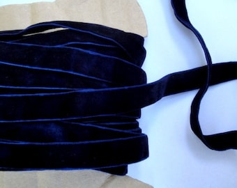 """5/8"""" Wide ( 15.8 mm ) Luxurious Double Sided Reversible Midnight Blue Velvet Ribbon Trim Two Faced for Gift Wrap Sewing Millinery Decor S129"""