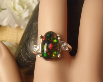 Black Ethiopian Fire Opal 2 Birthstone Accent Gems Ring, Solid Sterling Silver, 2.80 Cts 13 x 8 mm Natural AAA+++ Ethiopian Opal