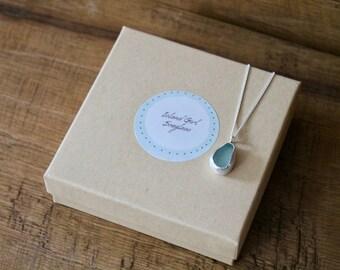 Light Blue Sea Glass Pendant Necklace