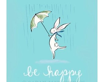 Children's Wall Art Print - Be Happy - Kids Nursery Room Decor
