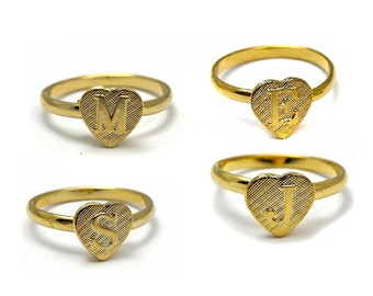Vintage Gold Plated Adjustable Initial Letter E - J - M - S Ring (1X) (J510) - You Choose