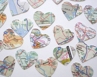 Atlas Map Hearts Confetti 100CT, Baby Shower Map Decoration, Wedding Invitation Filler, Travel Theme Party Decoration, Map Heart - No463