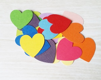 1in Heart Shaped Confetti, Rainbow confetti, handmade confetti, birthday party, table scatters, wedding table decor, colourful party