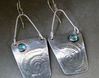 Sterling Silver Earrings Fossil Printed and Oxidized, Create a One of a Kind Surface Design Texture, Features 6mm Fluorite Stone