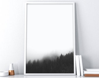 Mountain Printable Art| Minimalist Black and White| Forest Printable Art| Landscape Printable Art| Extra Large Wall Art| Nordic Wall Decor