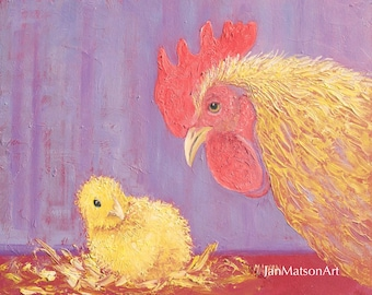 Chicken painting, easter art, country cottage decor, hen art, easter chick, nursery painting, farm animal painting, kitchen painting