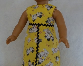 18 Inch Doll Dress, Sleeveless Doll Dress, Summer Doll Dress, Doll Dress, 18 Inch Doll Cloth, Yellow Doll Dress, Girl Birthday Gift